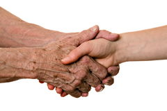 Old and young hands, isolated on white Stock Photo
