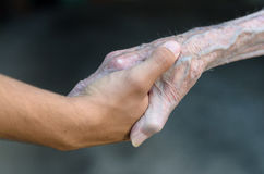 Old and young man shaking hands Stock Images