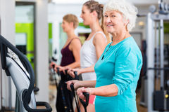 Old and young people on vibrating plates in gym stock photography
