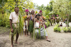 Inhabitants of small island Santa Ana in South Pacific Ocean. Old and young people waiting for celebration, Solomon Islands