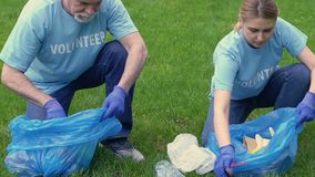 Old and young volunteers collecting trash in park, giving high-five, cooperation. Stock footage stock video footage