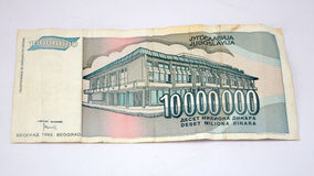 Old yugoslavia  dinars,  paper money. Picture of a Old yugoslavian dinars,  paper money Royalty Free Stock Photos