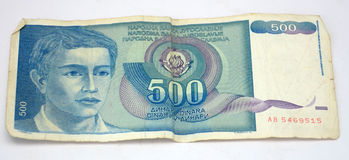 Old yugoslavia  dinars,  paper money. Picture of a Old yugoslavian dinars,  paper money Royalty Free Stock Images