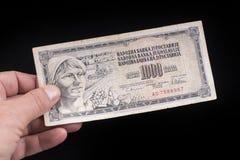 An old Yugoslavian banknote. A old Yugoslavian 10 Dinars banknote Stock Image