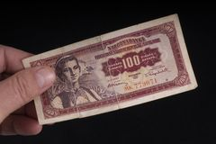 An old Yugoslavian banknote. A old Yugoslavian 10 Dinars banknote Stock Photo
