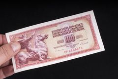 An old Yugoslavian banknote. A old Yugoslavian 10 Dinars banknote Stock Photos