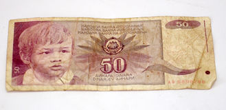 Old yugoslavian dinars,  paper money. Picture of a Old yugoslavian dinars,  paper money Royalty Free Stock Photo