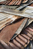 Old Zinc. A stack of old Zinc which use for roofing Stock Photo