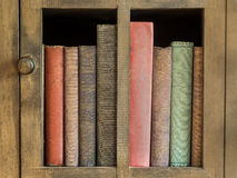 Oldbooks. Vintage books in an antique bookcase Stock Photos