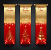 Olden banners with greetings and Christmas trees Stock Image