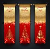 Olden banners met groeten en Kerstbomen Stock Afbeelding