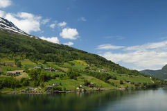 Olden fjord. Summertime landscape of nordfjord in Olden, Norway Royalty Free Stock Photo