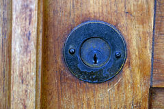 Olden lock in closed door Royalty Free Stock Images