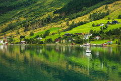 Olden by, Norge Arkivbild