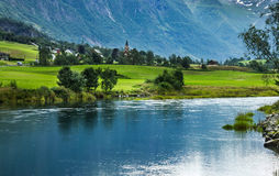 Olden, Norway. Landscape with mountain and lake in Norwegian village Olden Stock Image