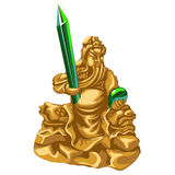Olden statue of Poseidon with emerald spear Stock Photography