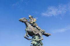 Olden thai trooper. Jumping Monument Royalty Free Stock Photo