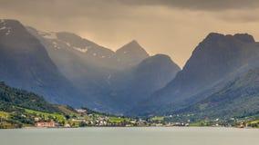 Olden village in Briksdalsbreen Glacial valley. In Norwegian Innvikfjord fjord Norway Royalty Free Stock Image