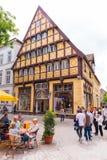 OLDENBURG, DUITSLAND - JUNI 10, 2017: Mening van het huis van de familie Degodehaus, in 1502 wordt gebouwd die Exemplaarruimte vo Stock Foto's
