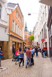 OLDENBURG, GERMANY - JUNE 10, 2017: View of the old town street. Vertical. Copy space for text. OLDENBURG, GERMANY - JUNE 10, 2017: View of the old town street royalty free stock image