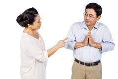 Older asian couple having an argument Stock Photo