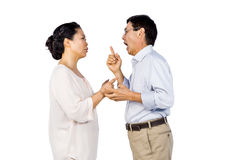 Older asian couple having an argument Stock Photo