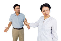 Older asian couple having an argument Royalty Free Stock Images