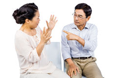Older asian couple having an argument Stock Photos
