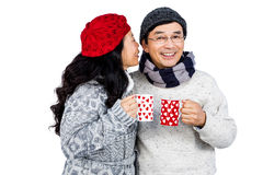 Older asian couple having hot drinks Royalty Free Stock Photos