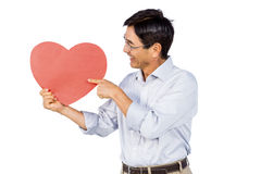 Older asian man showing a heart Stock Images