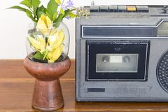 Older audio cassette tape old generation 20 year ago stock image