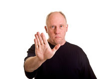 Older Bald Man Hand up for Stop Stock Image