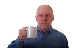 Older Balding Man in Blue Shirt Royalty Free Stock Photos