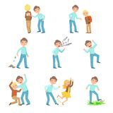 Older Boy Bullying Young Children And Behaving Badly Set. Bright Color Isolated Vector Drawings In Simple Cartoon Design On White Background Royalty Free Stock Photos