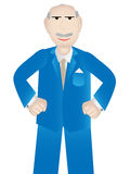 Older business man with positive attitude - vector. Professional business man standing in a pose wearing blue suit with fists closed and smiling face Royalty Free Stock Images