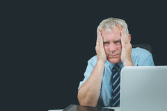 Older business man. Business man stressed and under pressure, selective focus royalty free stock photo