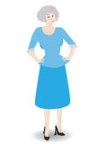 Older business woman - Vector. Older business woman standing with hands at her hips wearing professional outfit Royalty Free Stock Photo
