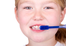 Older child brushing teeth Royalty Free Stock Photo