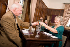 Older couple celebration meal Royalty Free Stock Photo