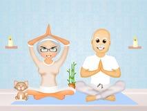 Older couple doing yoga Royalty Free Stock Image
