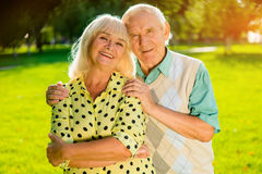 Older couple outdoors. Royalty Free Stock Photos