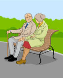 Older couple in the park. Vector illustration of a older couple in the park Royalty Free Stock Photo