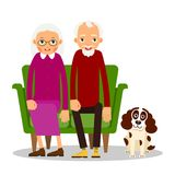 Older couple. On the sofa sitting elderly woman, man and dog. Old people with animal and furniture. Grandparents at home on couch with a pet. Illustration in stock illustration