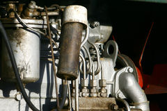 Older diesel engine used for mobile drilling rig Royalty Free Stock Photos