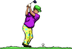 Older Duffer Golfer Bright. Older golfer with a big belly with bright clothes teeing off Royalty Free Stock Photography