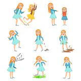 Older Girl Bullying Young Children And Behaving Badly Set. Bright Color Isolated Vector Drawings In Simple Cartoon Design On White Background vector illustration