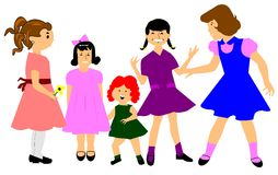 Older girls playing wiith younger girls Royalty Free Stock Image