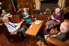 Free Older Group Of Friends By Fireplace Stock Photos - 12071253