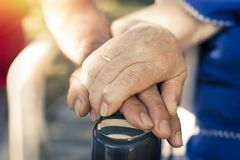 Older hands linked. Couple of older hands linked royalty free stock photo