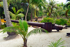 Older Japanese guns on the island of Saipan. Royalty Free Stock Image